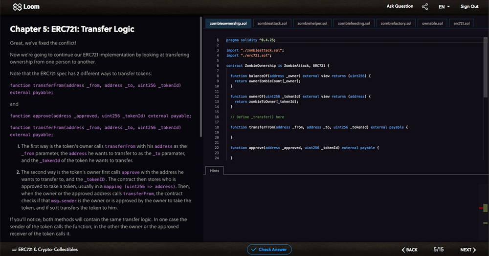 cryptozombies coding interface