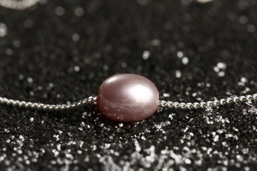НОВИНКА - Серебряная подвеска с серой/розовой жемчужиной