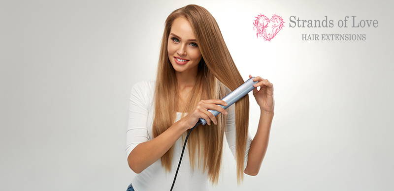 Strands Of Love Aftercare FAQ Image Girl With Flat Iron Straightning