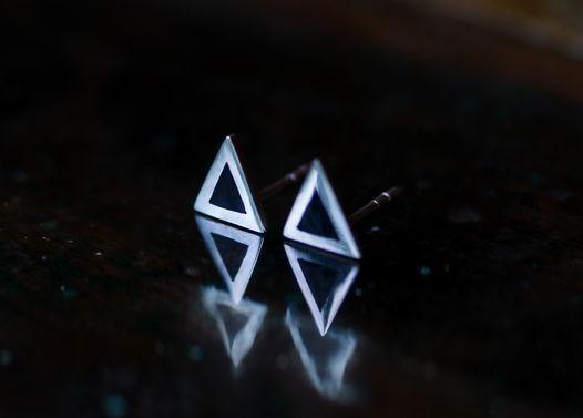 Серебряные серьги Крошки-гвоздики, 4 разные формы. Серьги треугольник, круг