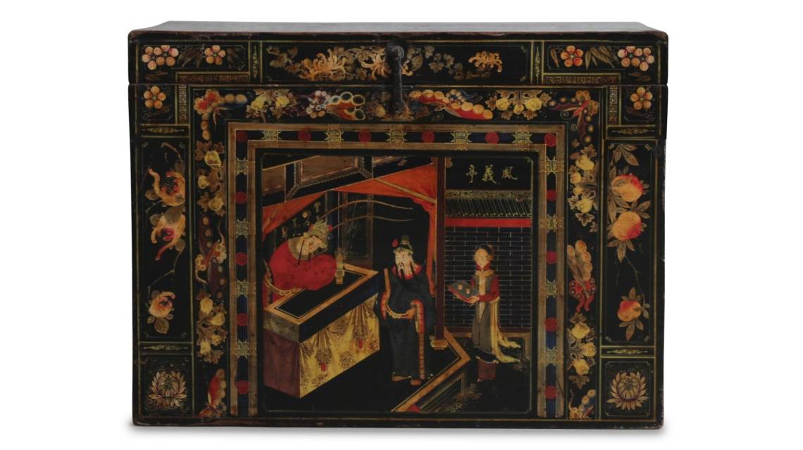 A black painted antique Chinese opera chest from Shanxi province dating from 19th century China.