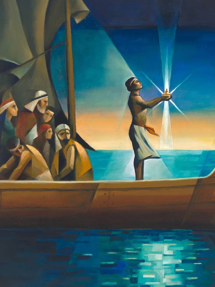 Modern LDS art painting of Nephi guiding his family with the liahona.