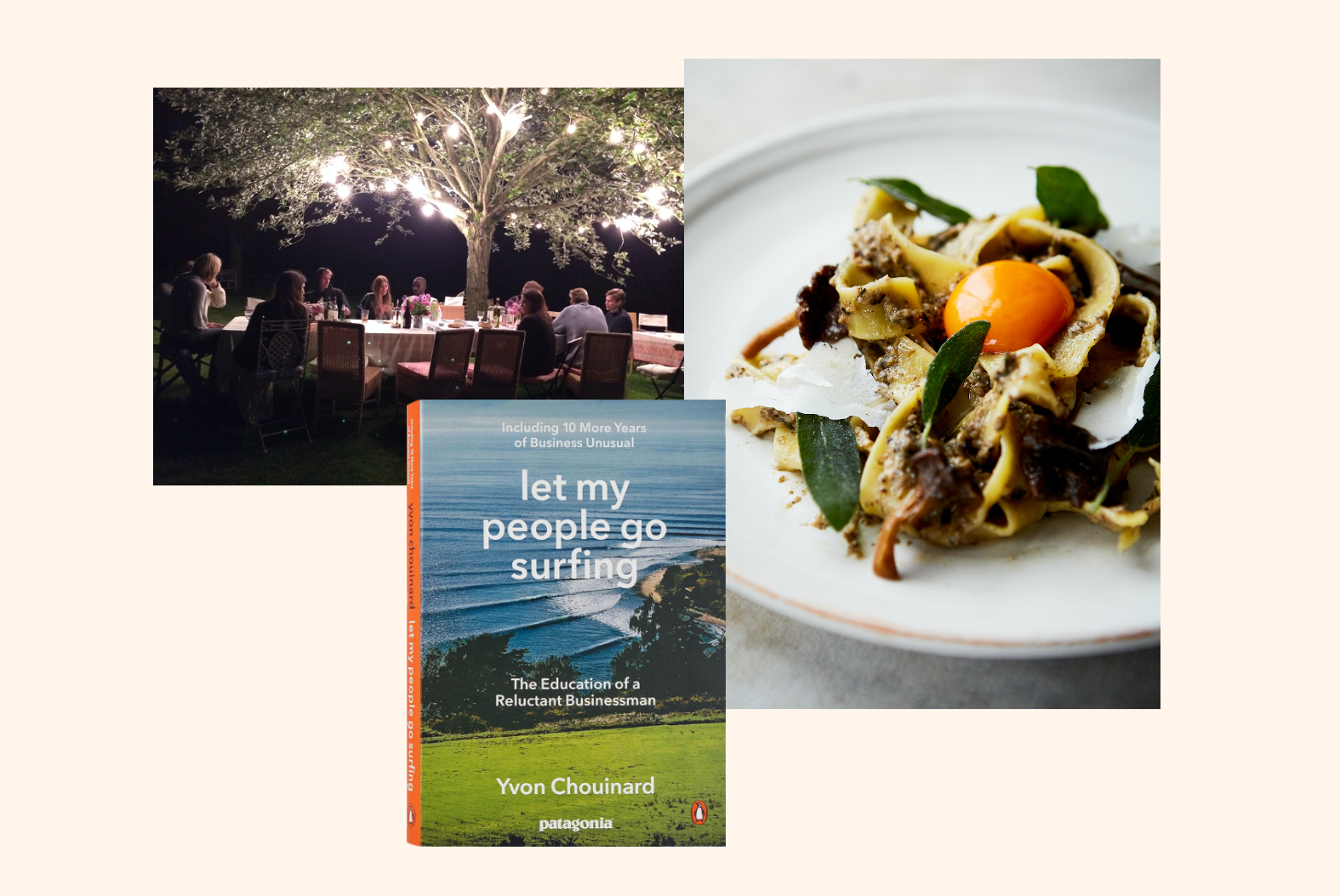Emily, Spook, Parpadelle Wild Mushroom and Let my people go surfing, book