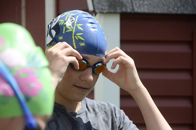 Swimmer wearing Vorgee Stealth MK IIGoggles