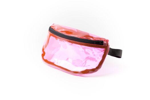 Сумка на пояс розовая из ПВХ пленки