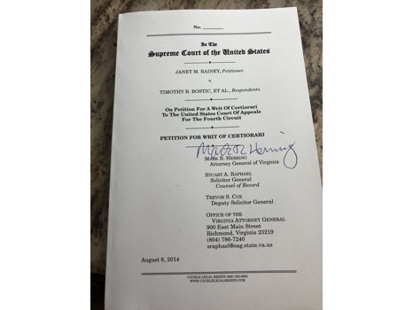 Iconic Petition for Writ of Cert signed by Attorney General Mark Herring