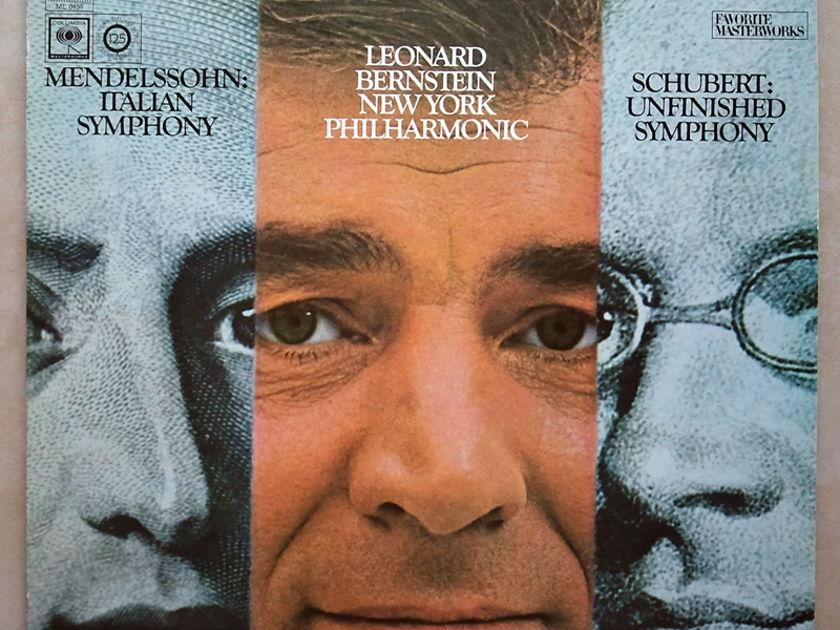 COLUMBIA 2-EYE | BERNSTEIN/SCHUBERT - Unfinished / MENDELSSOHN Italian Symphony / EX