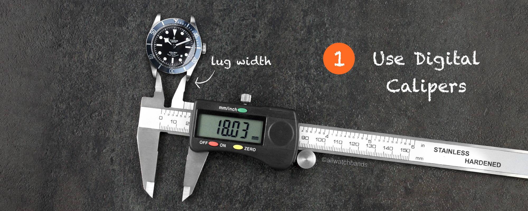 use digital calipers to measure watch band length