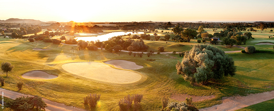 Hamburg - Championship Course in the golf resort Is Molas Sardinia Italy in the morning light.