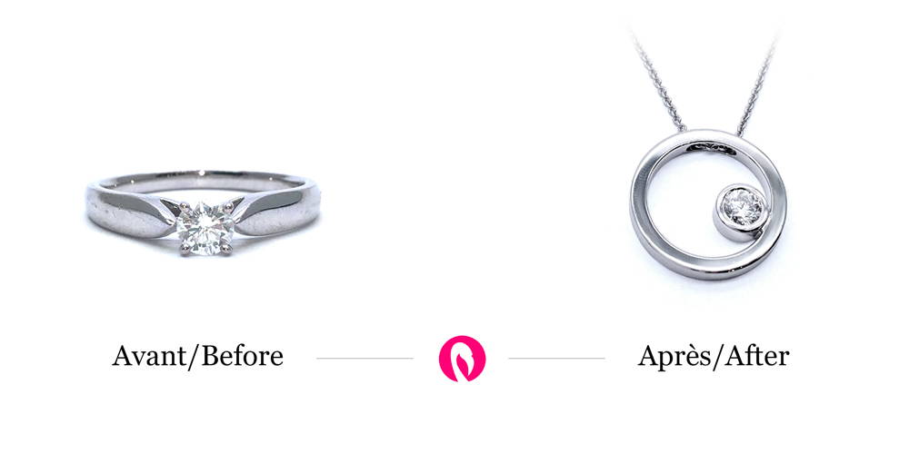 An eternity rush with a diamond transformed into a circular white gold pendant with diamond set inside.