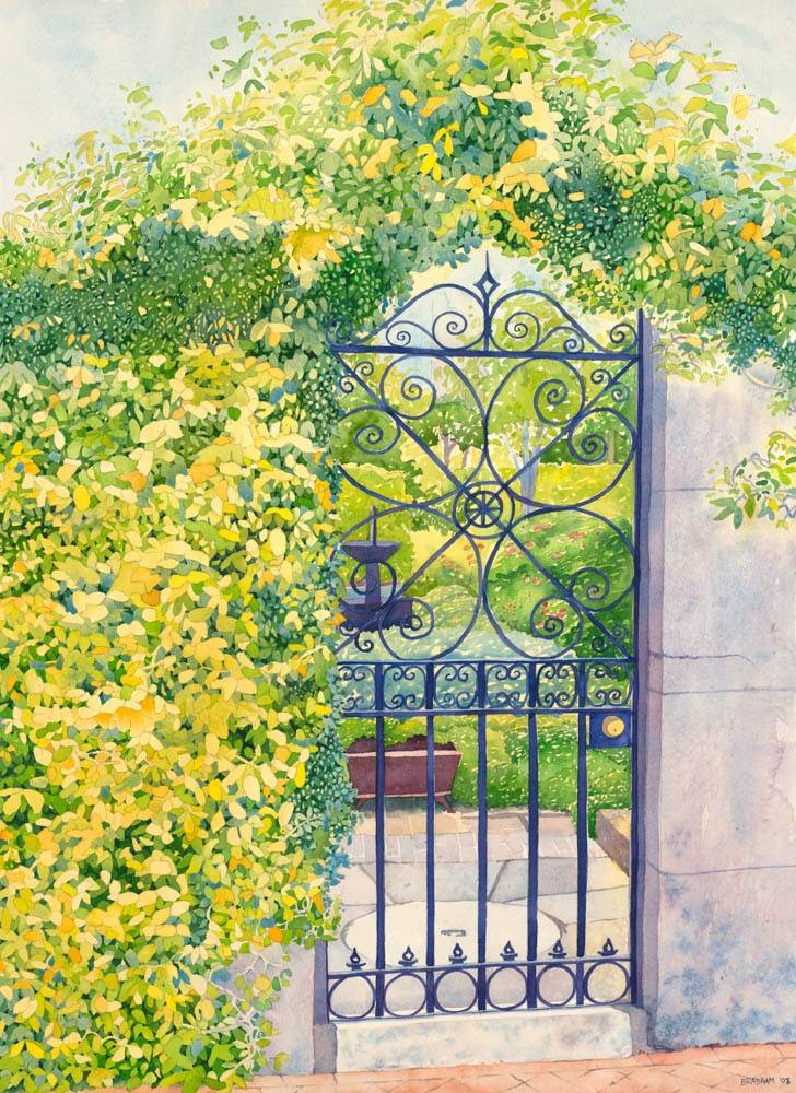 Painting of a gate surrounded by lush green and yellow leaves.