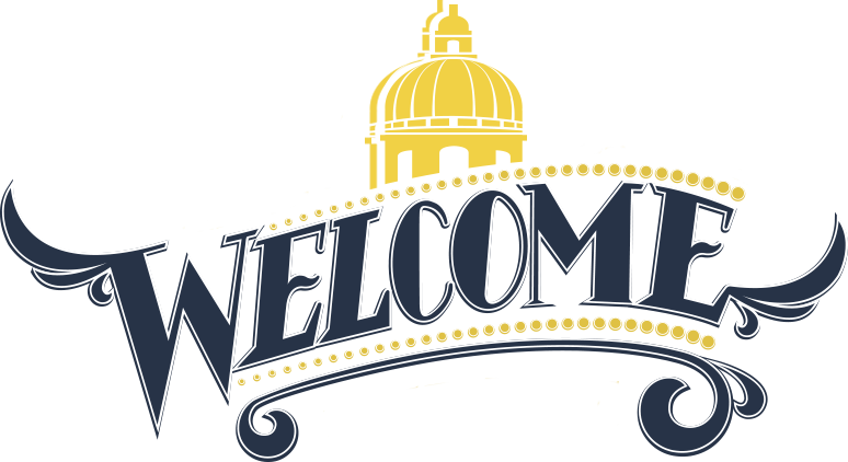 The word Welcome with a stylized icon of the Statehouse dome.