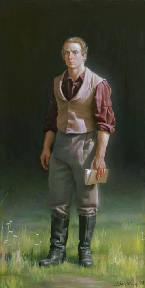 Vertical painting of the Latter-day Saint prophet, Joseph Smith standing in a field holding a book of scripture.
