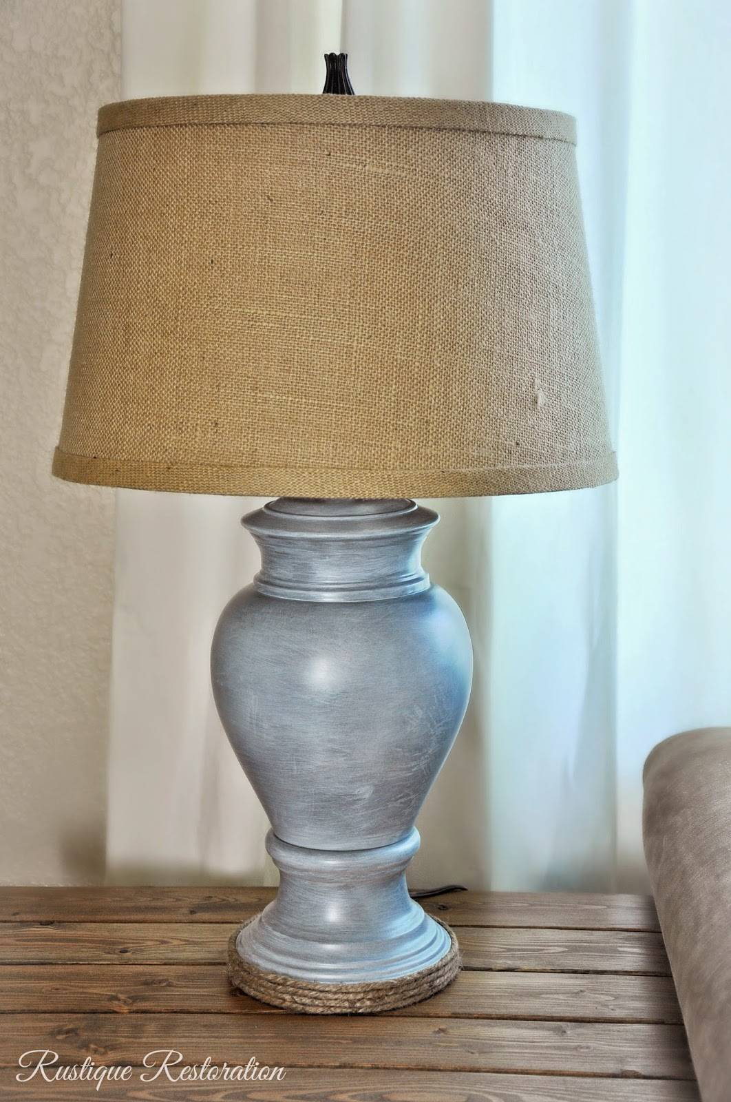 This Burlap And Zinc Finished Farmhouse Lamp Was Once A $5 Thrift Store  Find Made Of Brass And White Glass // Rustique Restoration