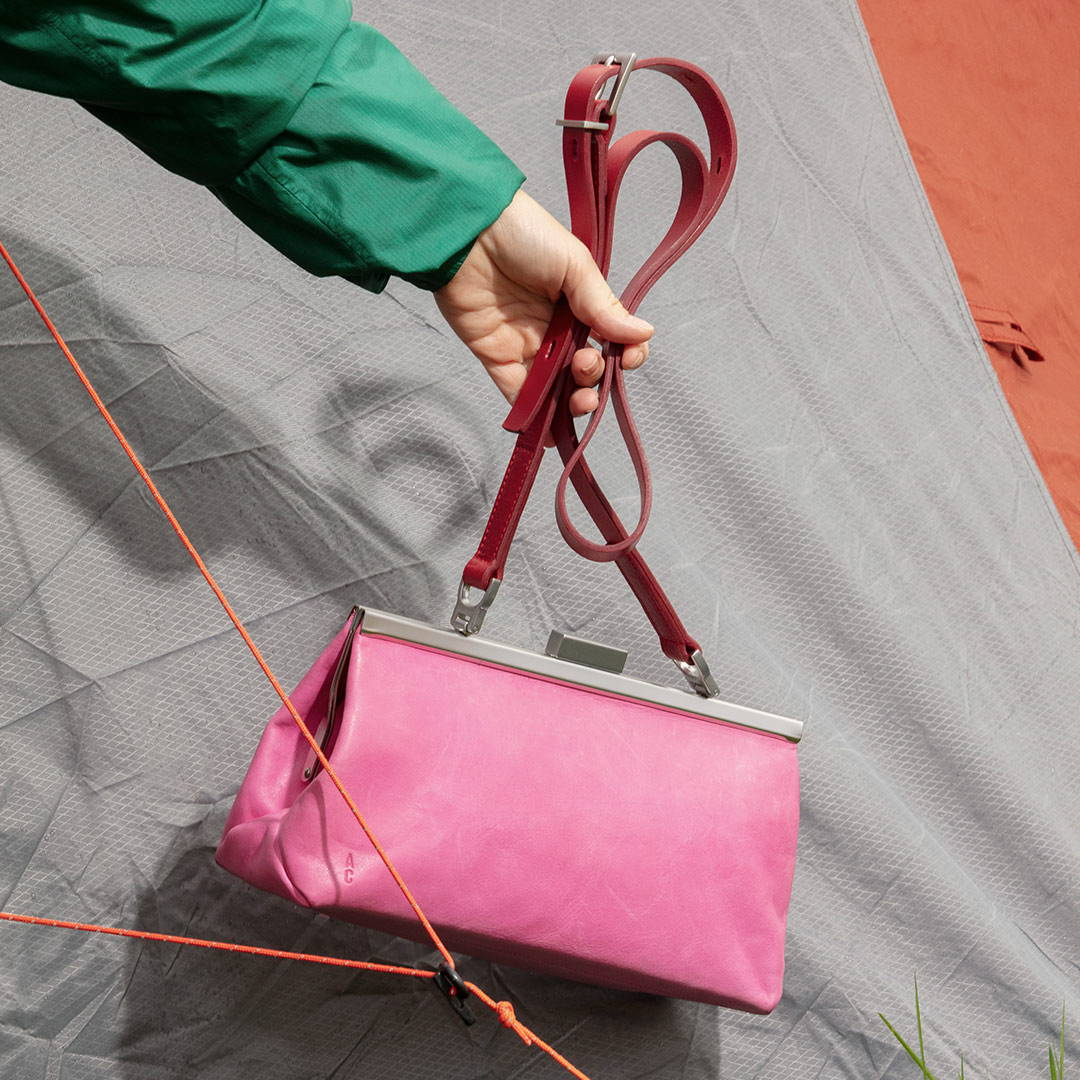 Ally Capellino SS21 Campaign Roxie Leather Frame Crossbody Bag in Pink/Red