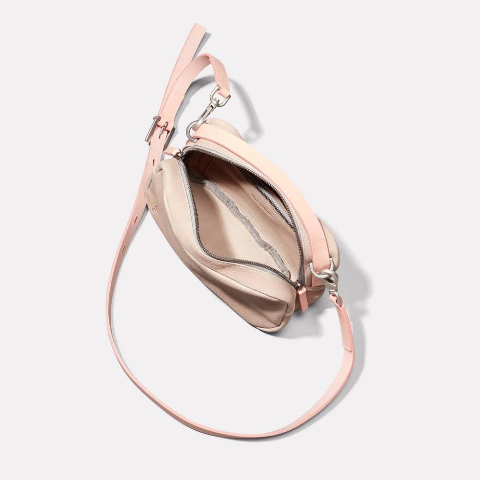Leila Medium Calvert Leather Crossbody Bag in Grey Inside