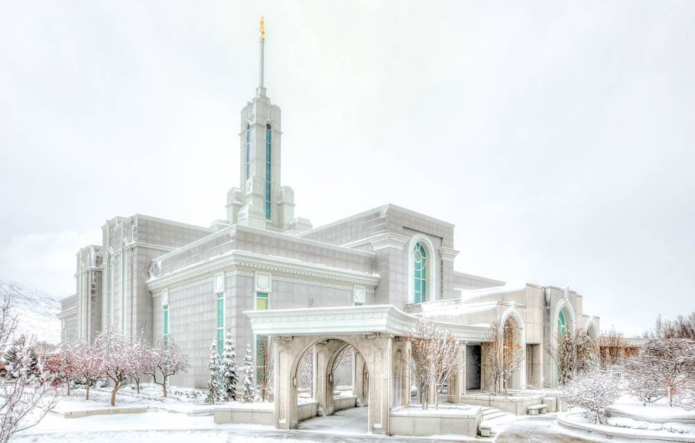 Mount Timpanogos Temple photo at an angle.