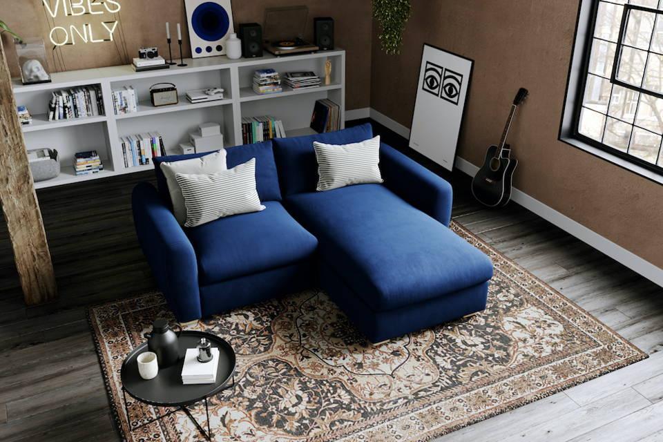 Snug Modern Chaise Navy Corner Sofa