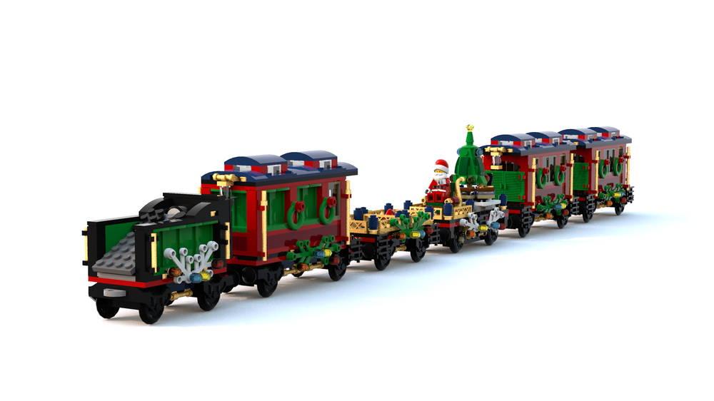 lego christmas train moc