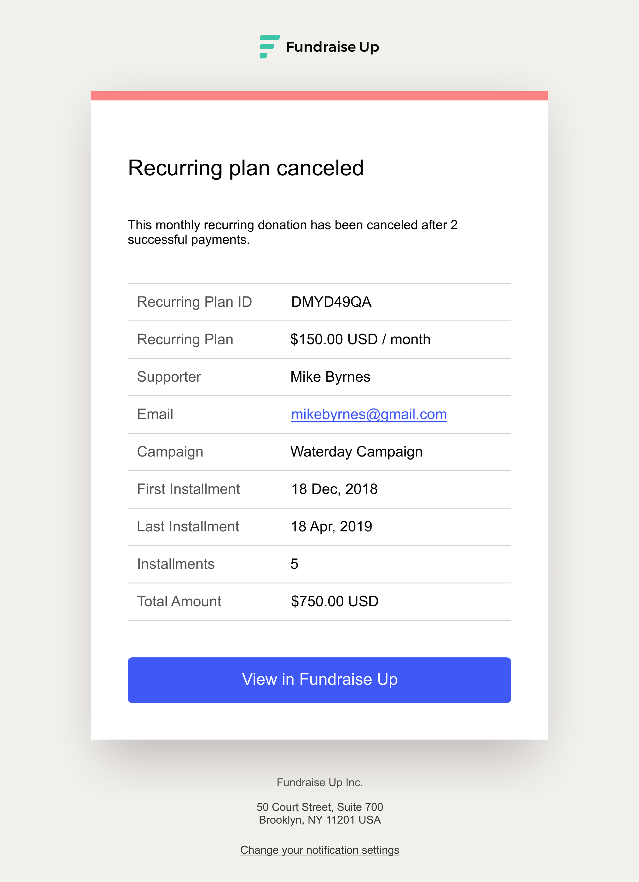Cancelled Recurring Plan