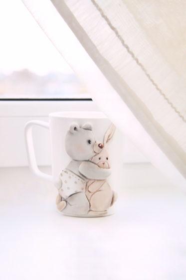 Кружка с иллюстрацией Мишка и зайка