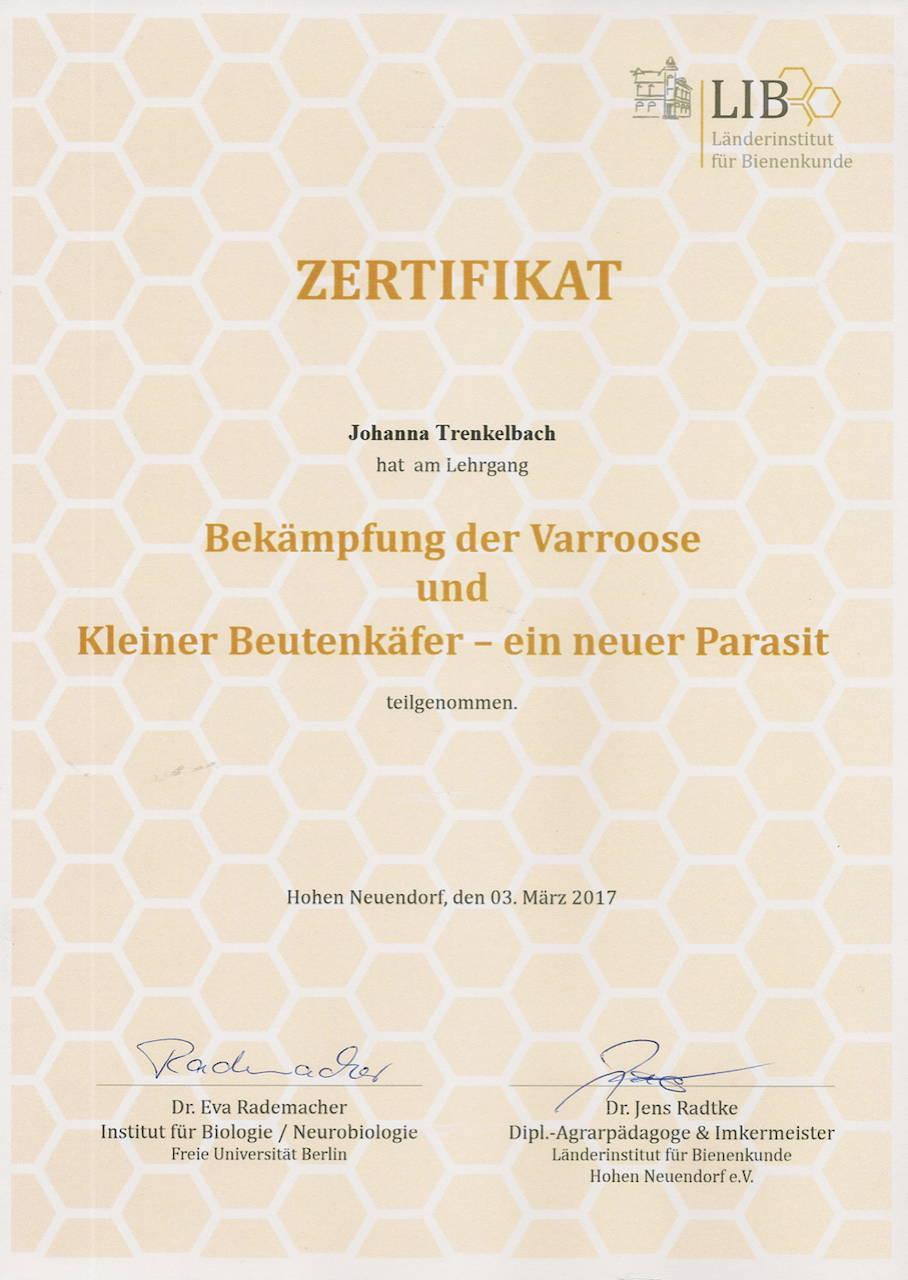 Zertifikat Bekämpfung der Varoose und kleiner Bettenkäufer - ein neuer Parasit