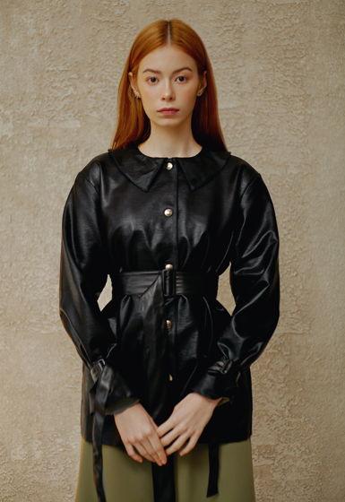 """Черная куртка из джинсы """"под кожу"""""""
