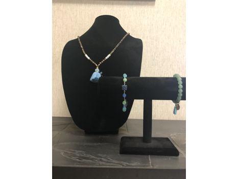 Long Knotted Tassle necklace with an Aventurine bracelet & Czech Glass bracelet set