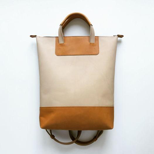 Кожаный рюкзак-сумка Flat Handles Ivory/Copper