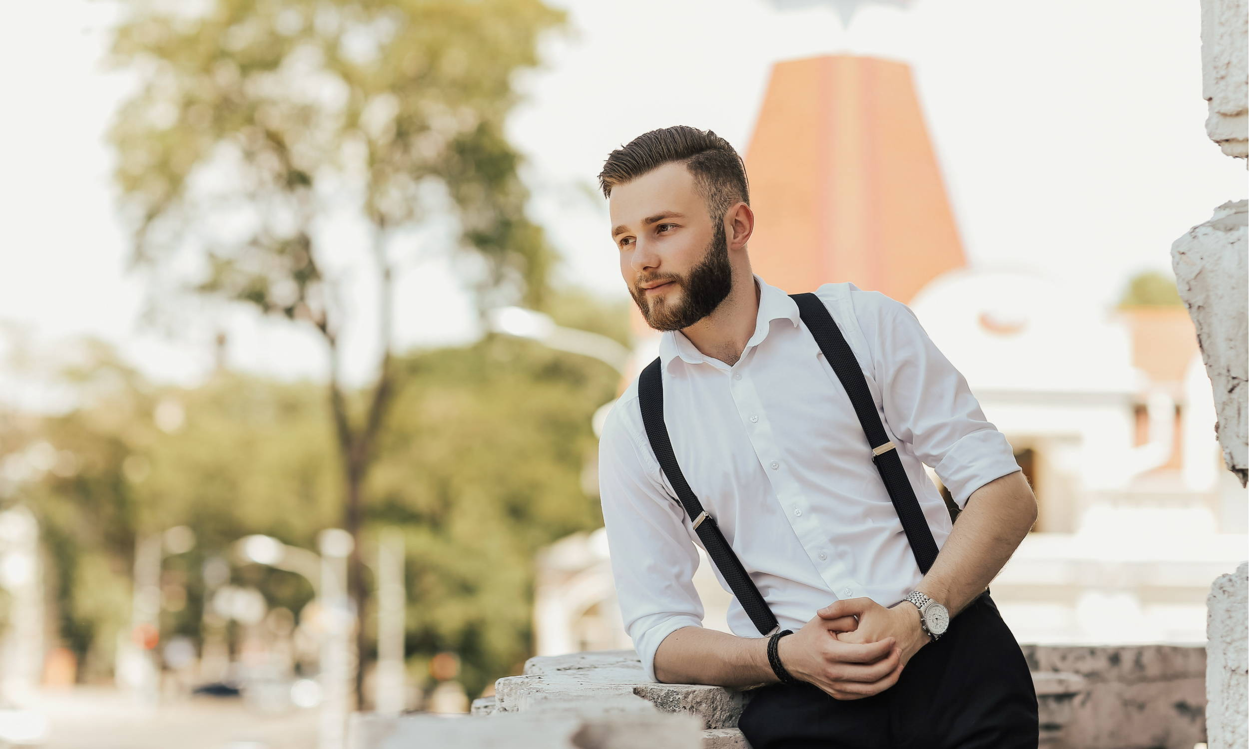 Man Wearing Black Suspenders