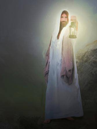 Jesus Christ holding out a lamp, illuminating the surrounding darkness.