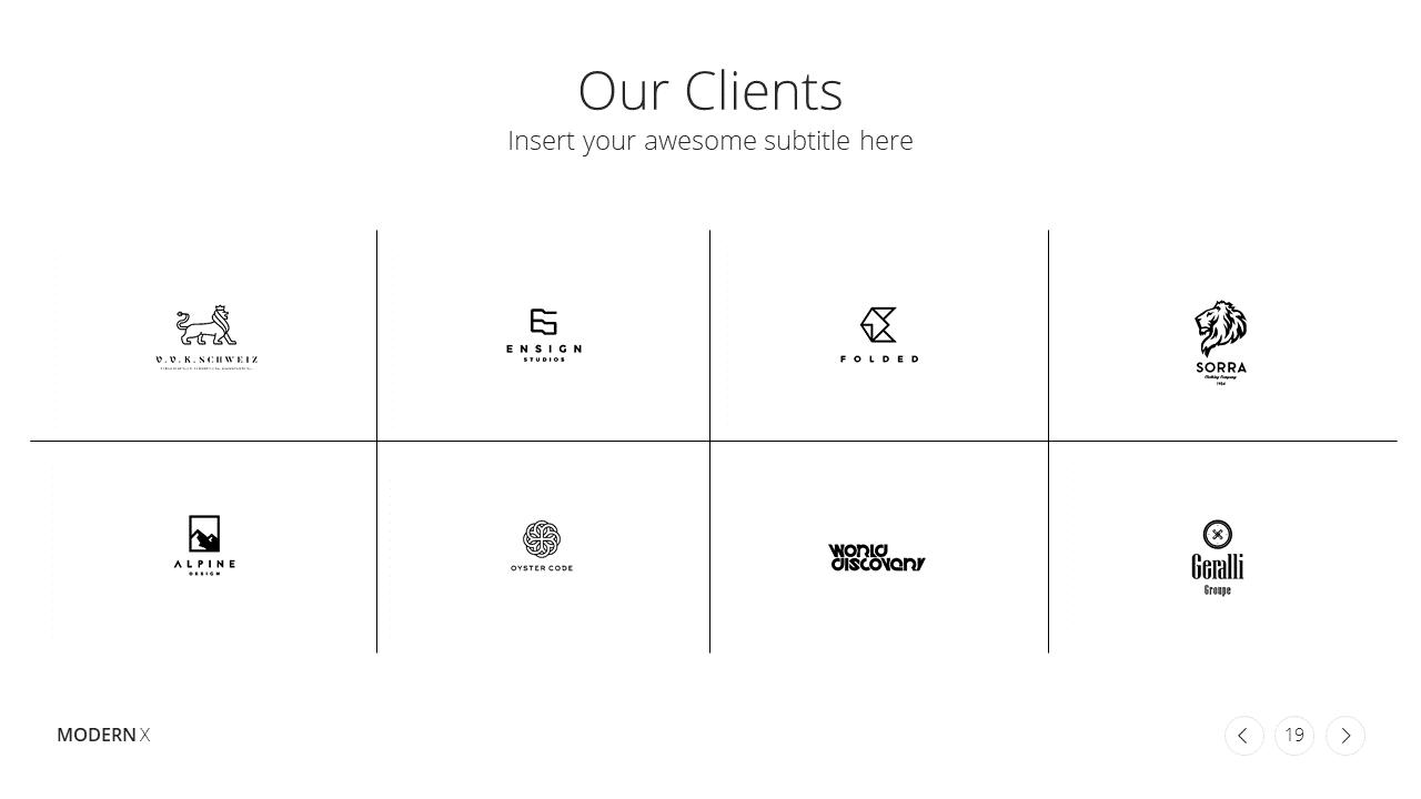 Modern X  Company Profile Presentation Template Clients