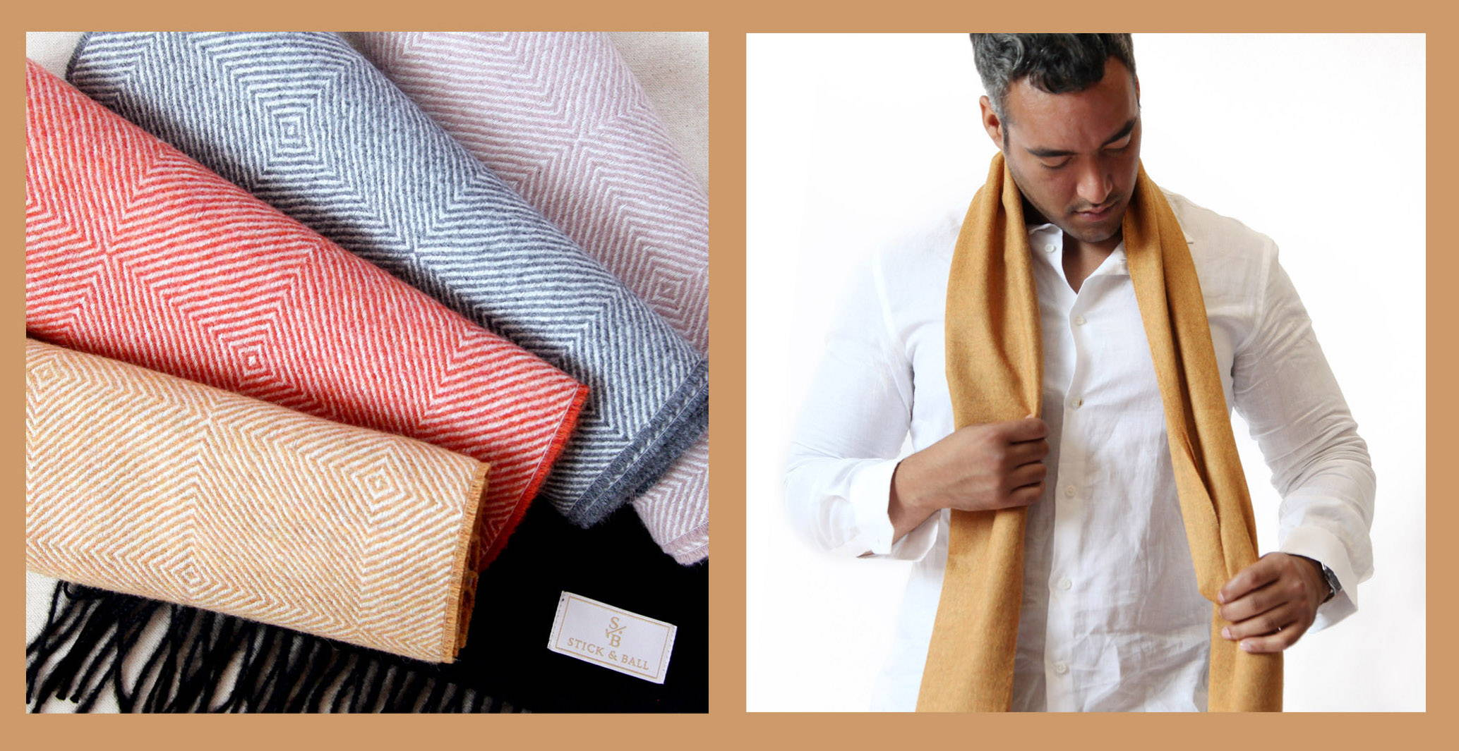 Variety of Stick & Ball Alpaca scarves with diamond motif & in solid colors