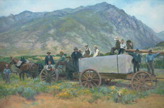 Painting of early pioneers hauling a block of white stone fro the Salt Lake City Temple.