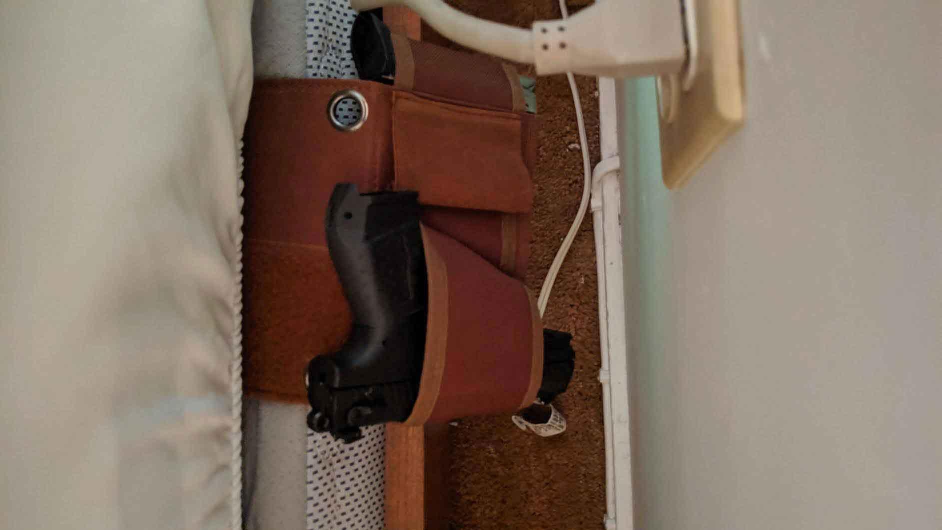 bed frame gun holster, mattress gun holster, under bed gun holster