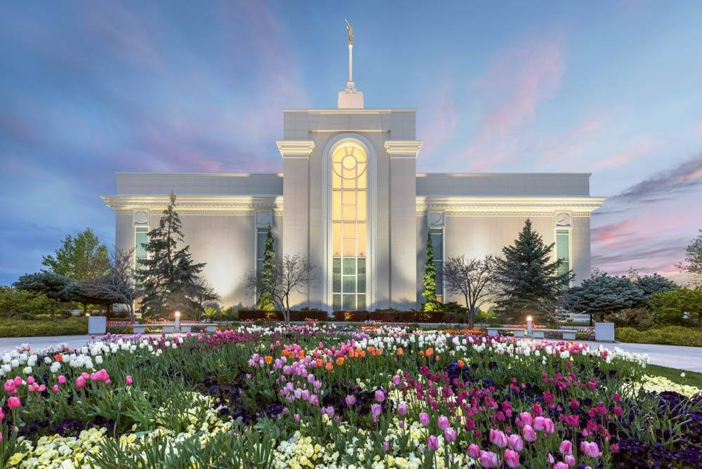 LDS art photo of the Mount Timpanogos Temple and springtime flower beds.