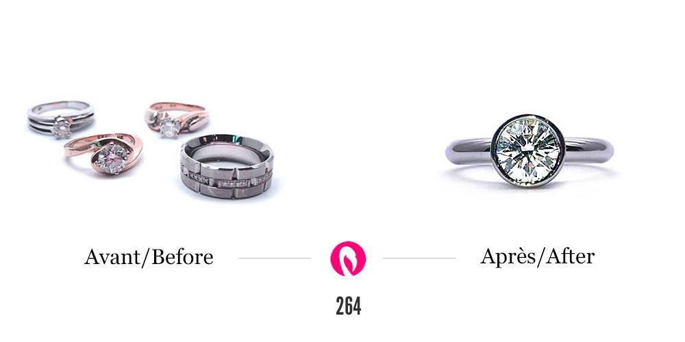 Transformation de diverses bagues avec ou sans diamant en un solitaire en serti clos et or blanc