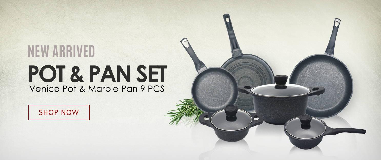 New arrived Venice Pot & Marble Pan 9 Pcs Set