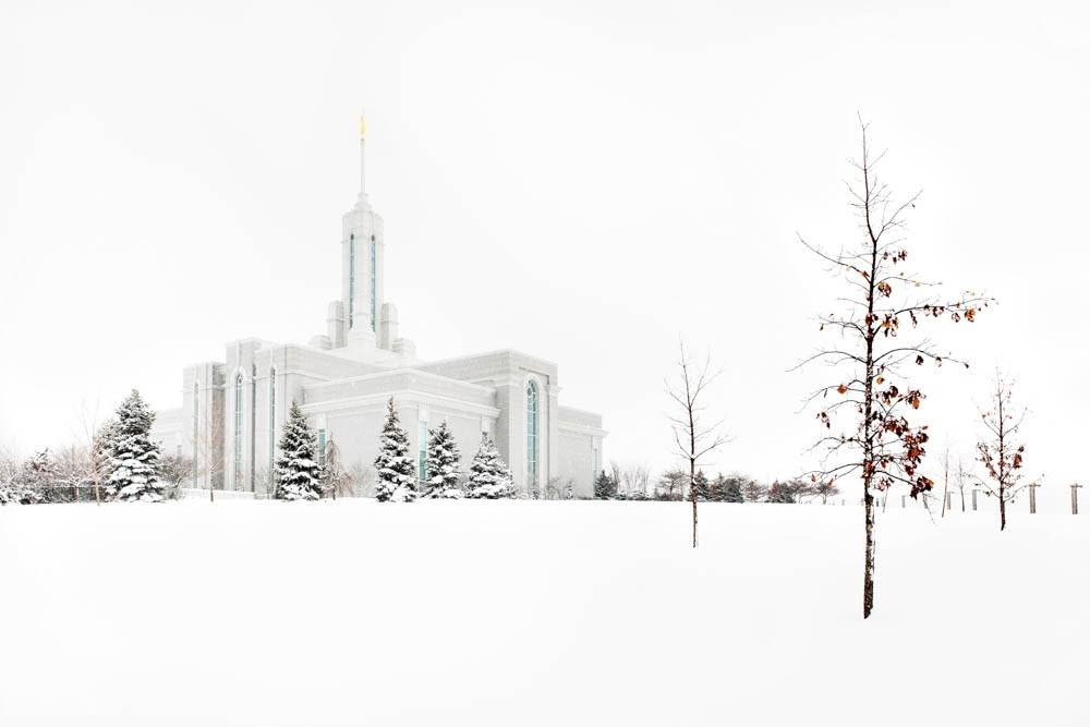 LDS art panoramic photo of the Mount Timpanogos Temple and grounds after a snowfall.