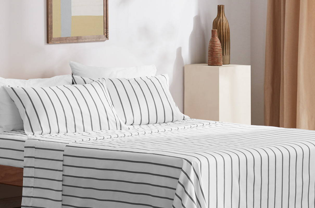 sleep zone bedding website store products collections cooling striped sheet set blue