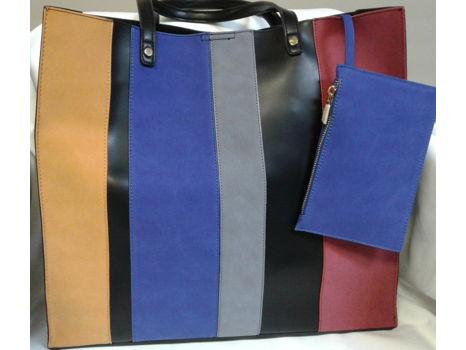 Stripe Faux Leather Tote