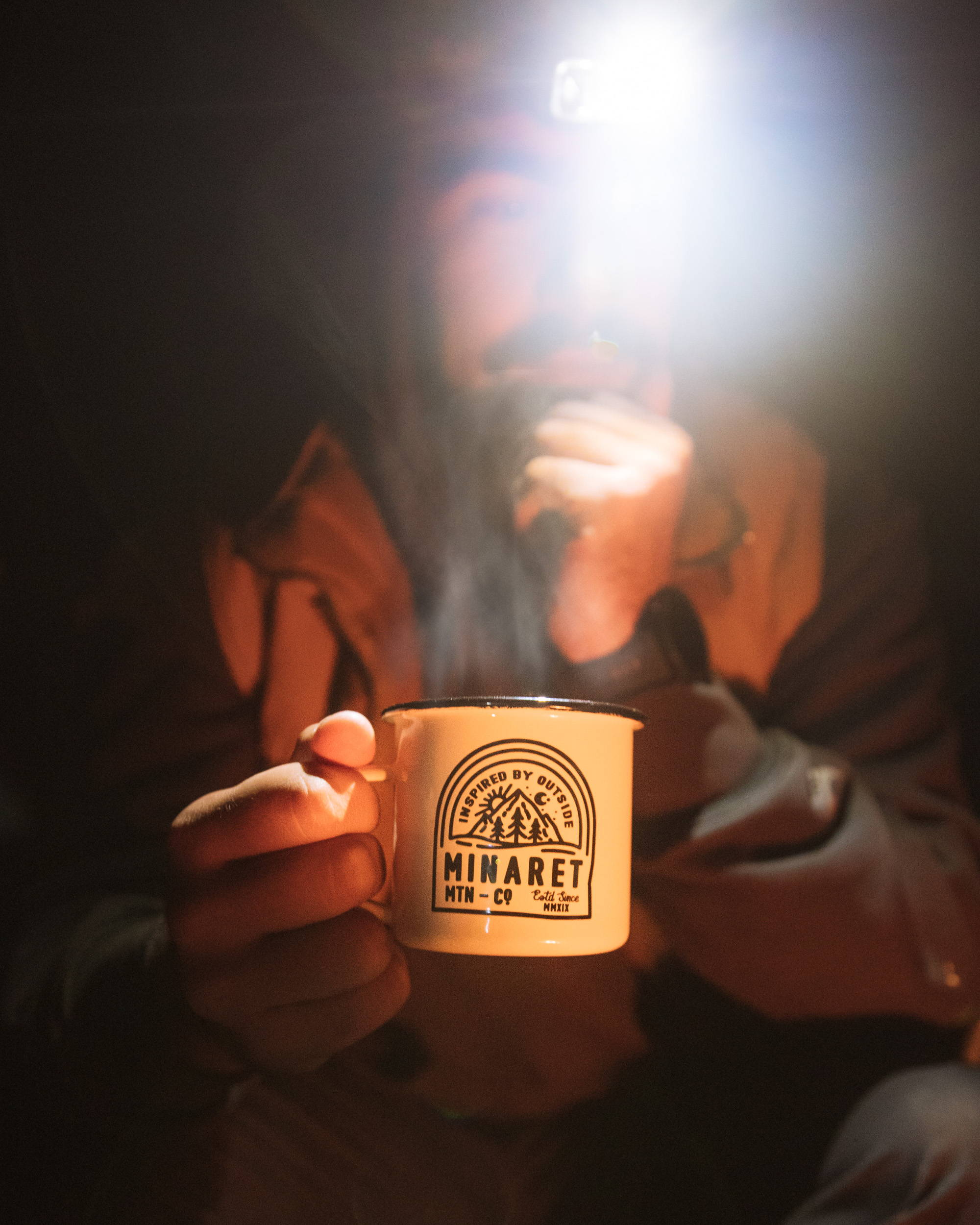 Minaret enamel camping mug with steam