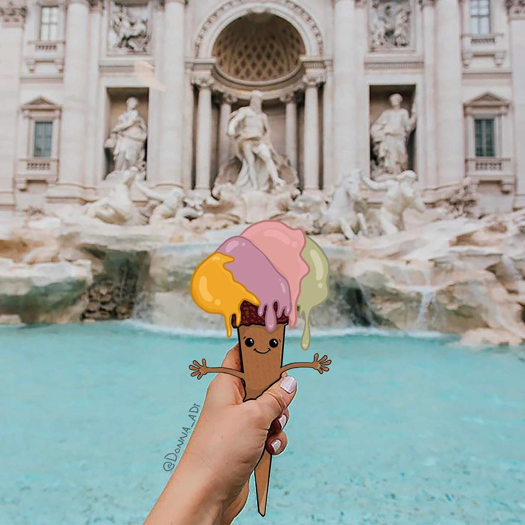 Trevi Fountain Italian Gelato Mixed Media Art by Donna Adi