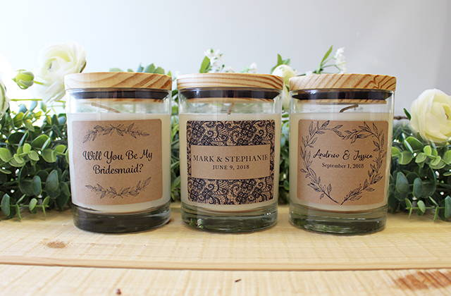 Samples of custom jar candles for weddings