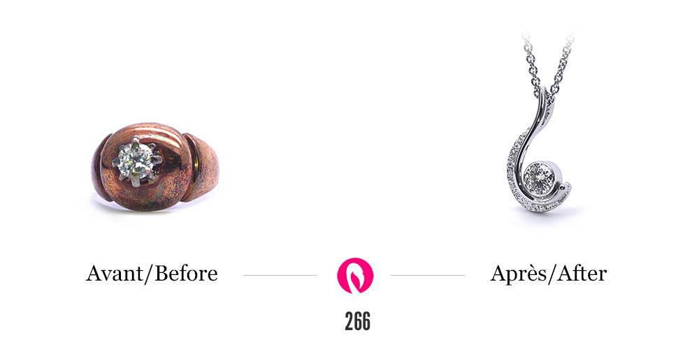 Transformation d'un vieux modèle de bague sphérique en or oxydé avec un diamant en un pendentif texturé de la collection berceau de Flamme en rose avec diamant.