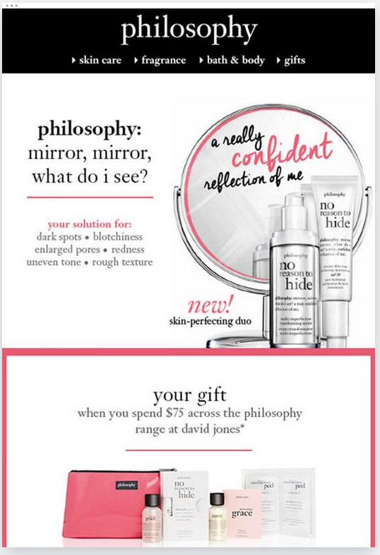 Get great email marketing ROI from good content, like this email from Philosophy