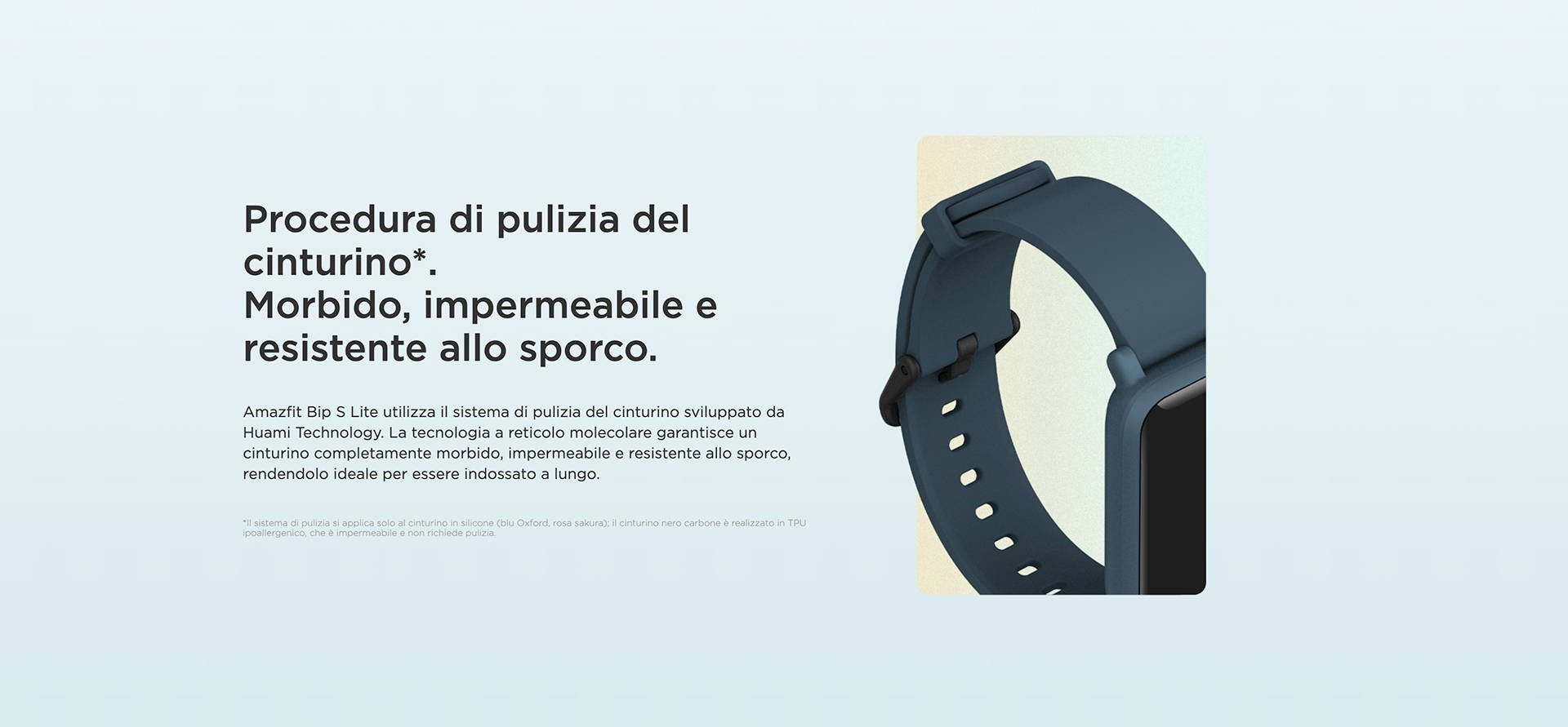Amazfit IT - Amazfit Bip S Lite - Procedura di pulizia del cinturino. | Morbido, impermeabile e resistente allo sporco.