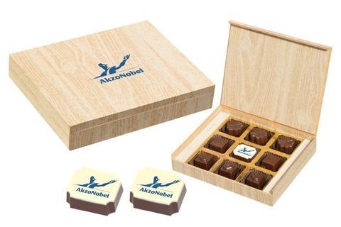Personalised Business Gifts - 9 Chocolate Box - Single Printed Candy (10 Boxes)
