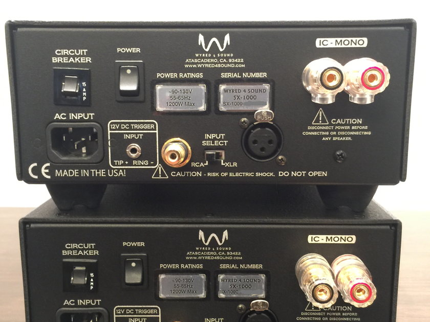 Wyred 4 Sound SX-1000 pair of monoblock amps