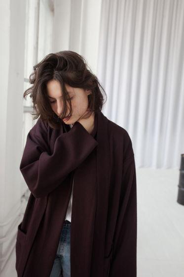 весеннее шерстяное пальто *слива*